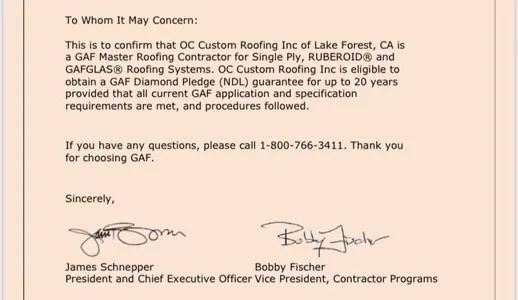 GAF Master Roofer letter
